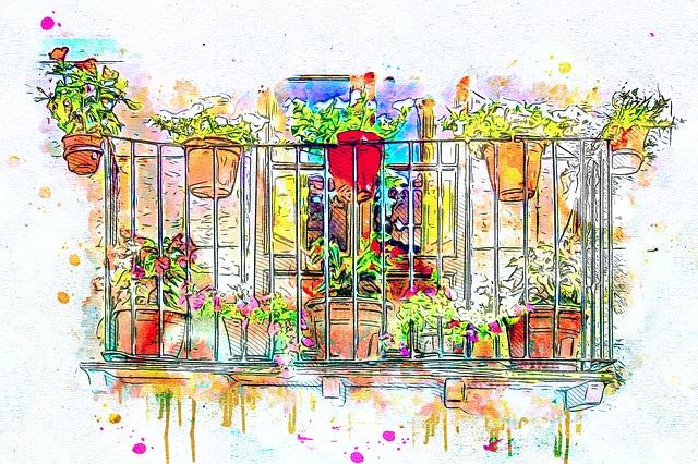 balkon s květinami
