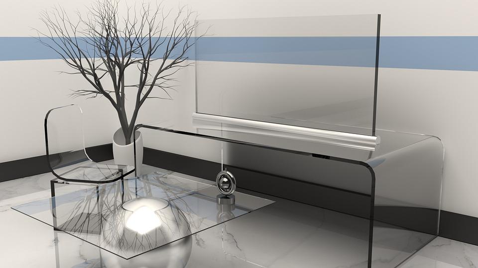 sklenený nábytok